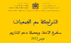 الشراكة مع الجمعيات. مسطرة الانتقاء وحصيلة دعم المشاريع لسنة 2012