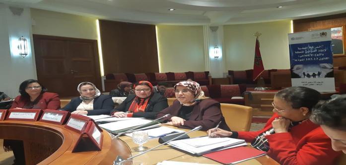 """""""لقاء دراسي حول موضوع:""""إنفاذ القوانين المتعلقة بالنوع الاجتماعي: القانون رقم 103.13 أنموذجا"""