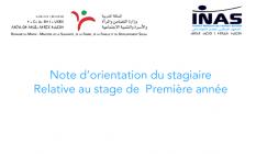 Note d'orientation du Stagiaire Relative au stage de 1ère année / date de parution : 2009